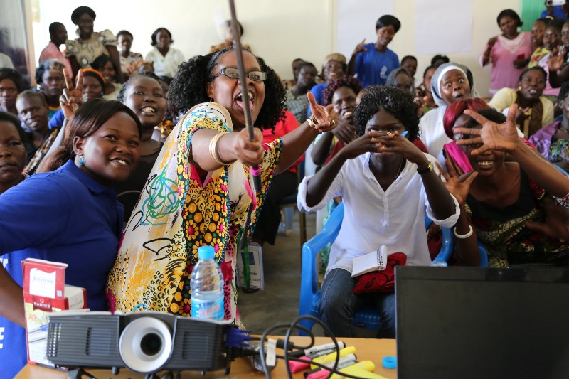#PeaceHackCamp participants enjoy a fun moment during a session on women's empowerment.